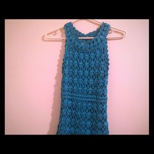 INC teal crochet dress XS